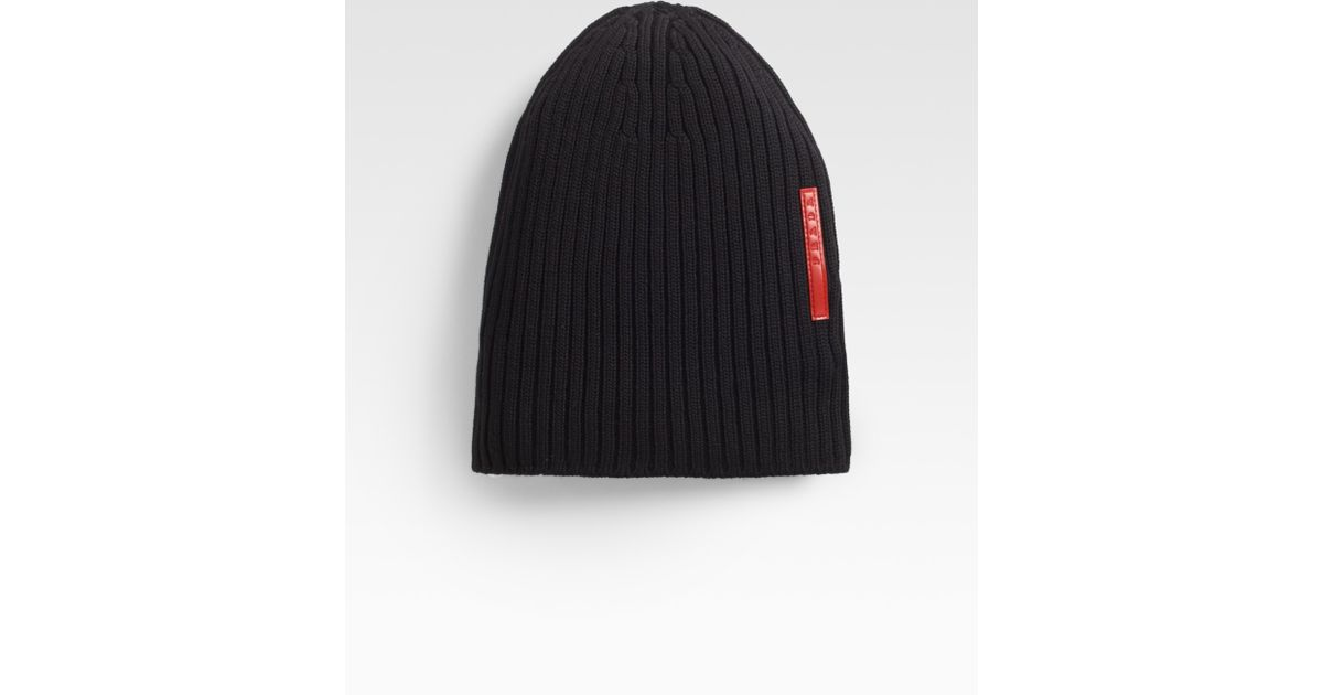 Lyst - Prada Ribbed Knit Beanie in Black for Men ae67ff5e7