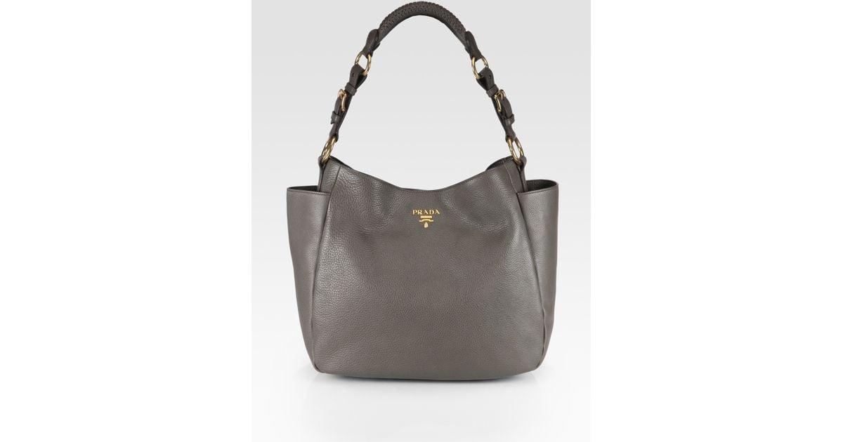 Prada Vitello Daino Side Pocket Hobo Prada Handbags For Sale
