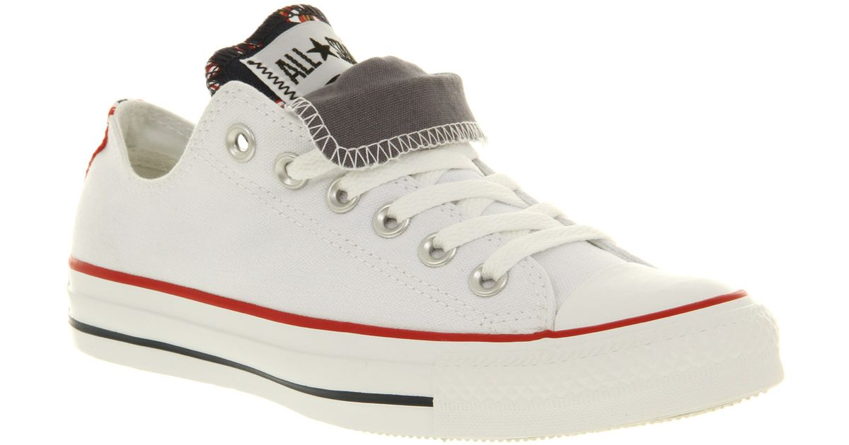 59417bf74cb7f7 Lyst - Converse All Star Ox Low Double Tongue White Grey Red Ribbon Smu in  White for Men