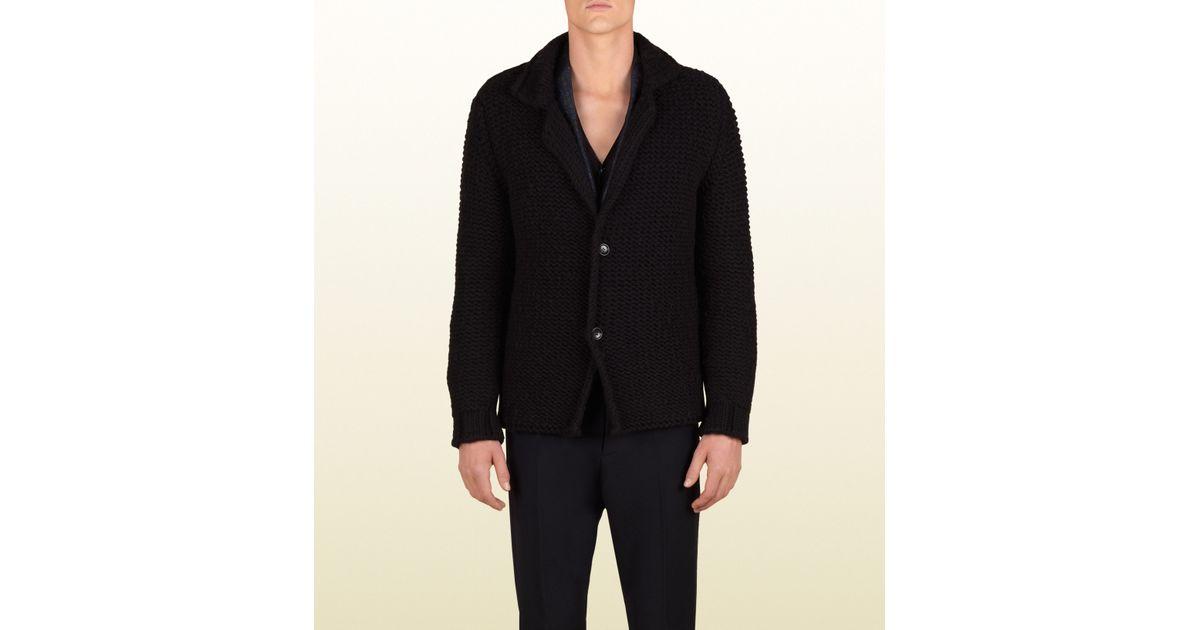 daa6c1c57389 Lyst - Gucci Wool Cardigan Sweater Coat in Black for Men