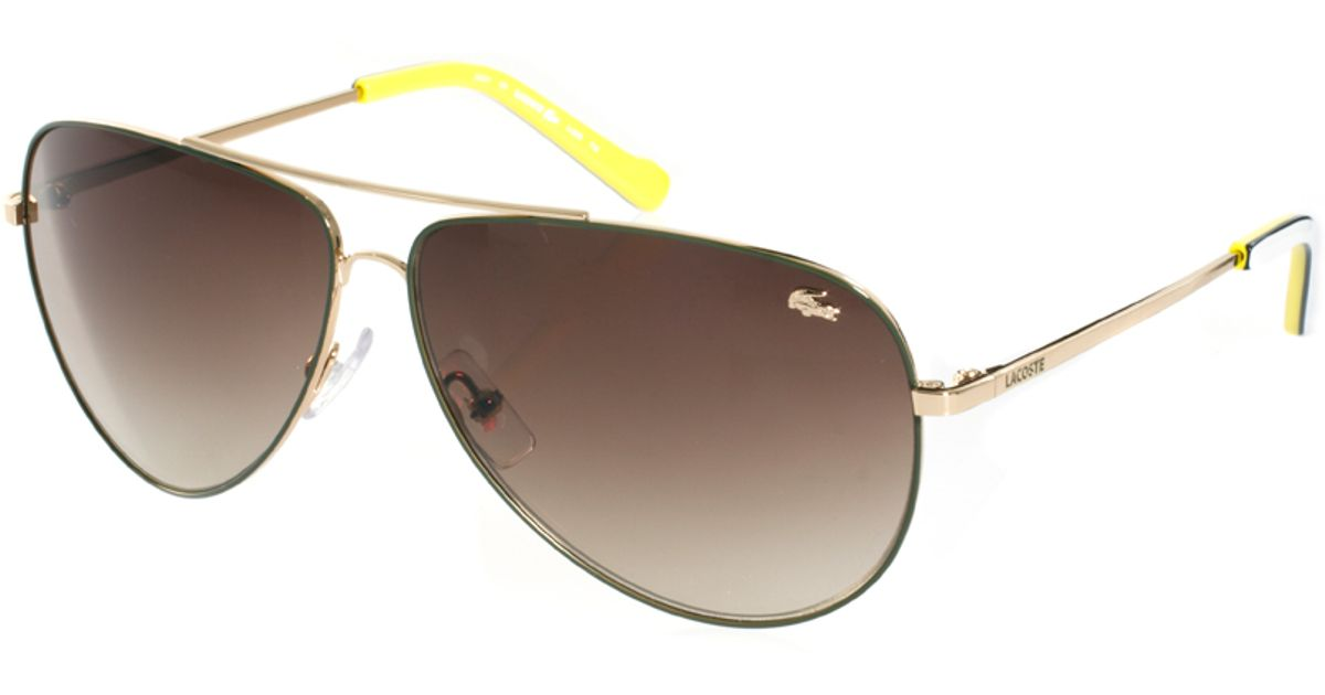 4af95fdbce18 Lyst - Lacoste Aviator Sunglasses in Metallic for Men
