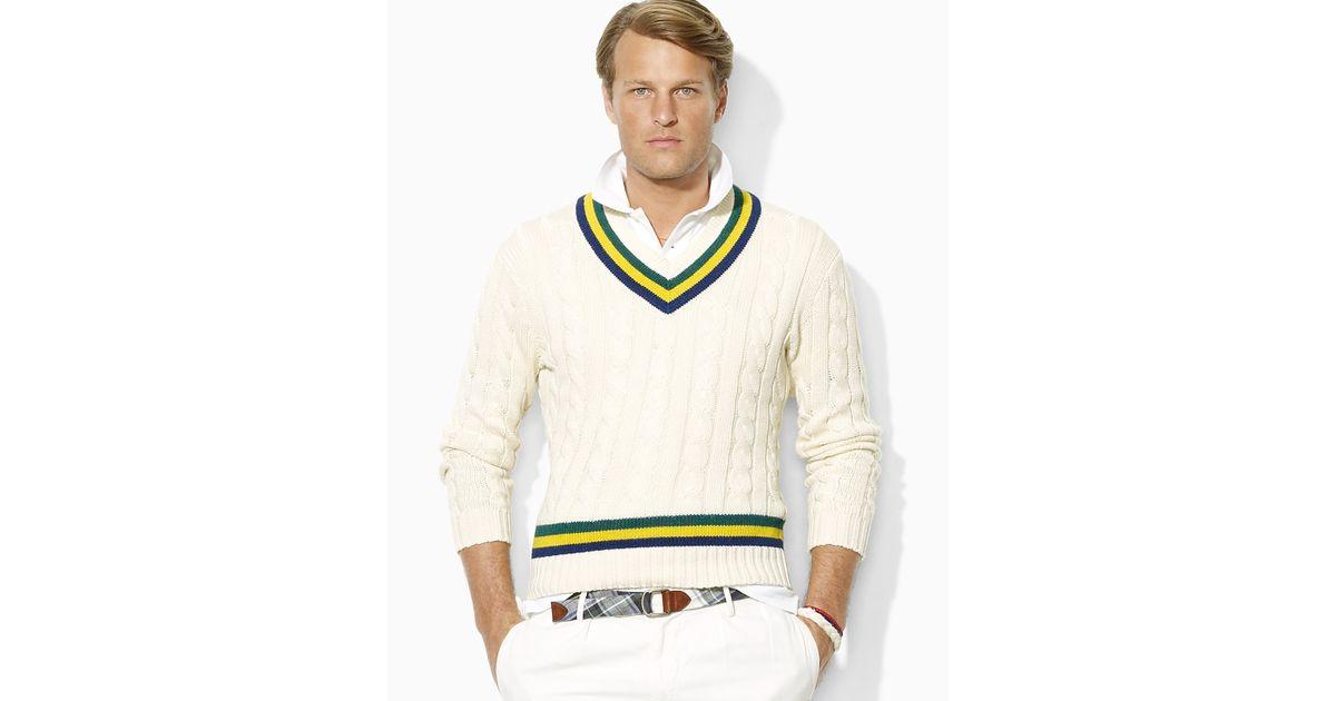 09d40cd6d8e782 Polo Ralph Lauren Cableknit Pima Cotton Vneck Cricket Sweater in Natural  for Men - Lyst