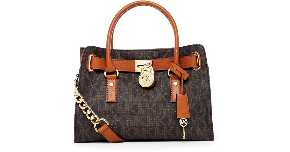 3366dbe459 Lyst - MICHAEL Michael Kors Hamilton Logo Satchel in Brown