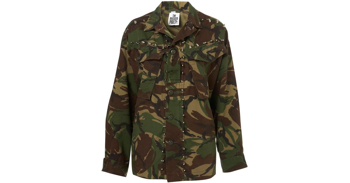 5cd0cd21980cb8 TOPSHOP Nato Camo Jacket By The Ragged Priest - Lyst
