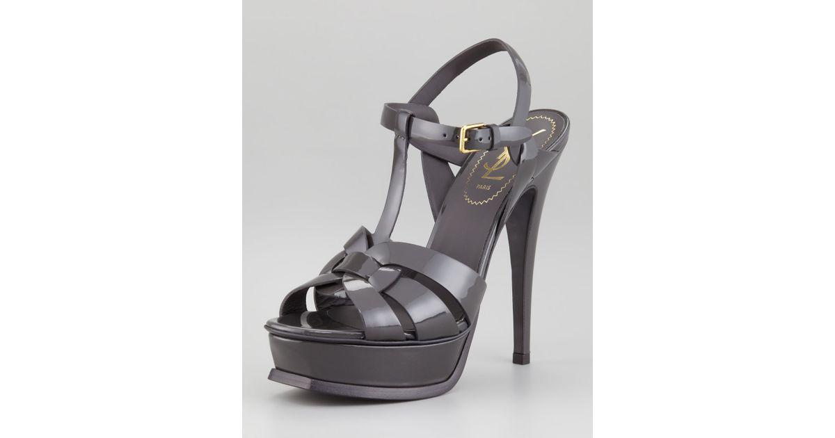 c0421d0a489 Lyst - Saint Laurent Tribute Patent Leather Sandal Light Gray in Gray