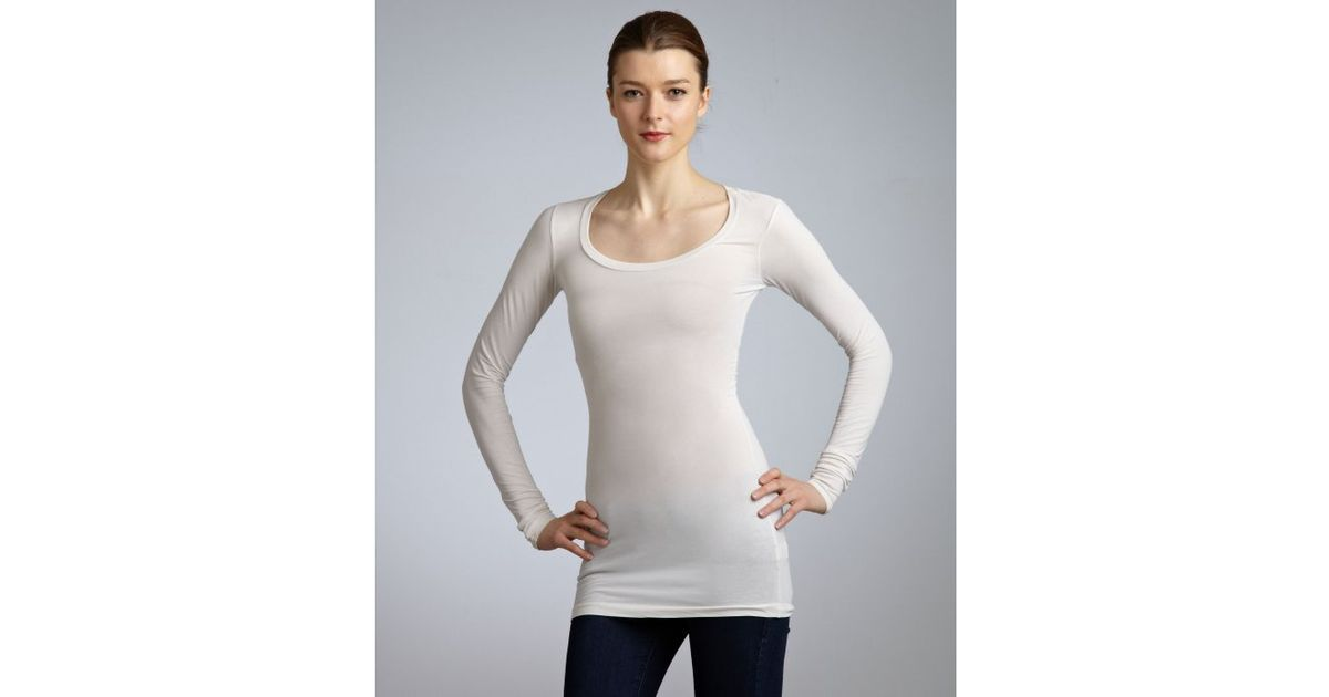 Lyst - Splendid Ivory Stretch Cotton Scoop Neck Long ...