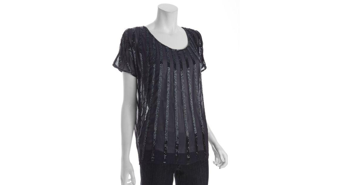 f9ec9a98f2d569 Lyst - Joie Navy Beaded Silk Blouson Short Sleeve Blouse in Black
