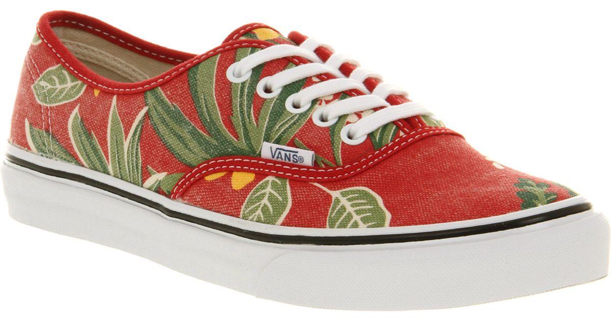 13b368abe774c5 Lyst - Vans Authentic Slim Van Doren Red Hawaiian in Red for Men