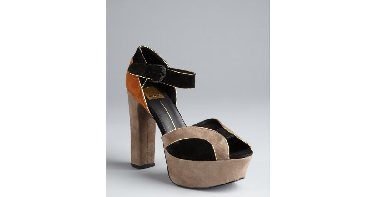 e8dd75049267 Lyst - Dolce Vita Grey Colorblock Suede Babette Platform Sandals in Brown