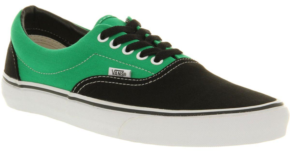 Lyst - Vans Era 2 Tone Black Bright Green in Black for Men 77faae676fb9