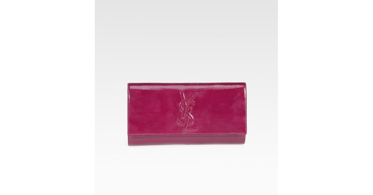 8bbb3c6df Lyst - Saint Laurent Ysl Large Patent Leather Clutch in Red
