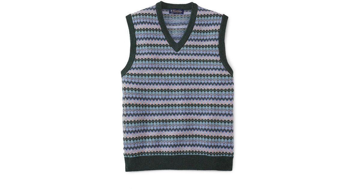 Brooks brothers Lambswool Fair Isle Vest in Blue for Men | Lyst