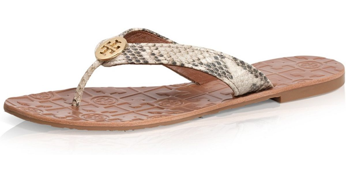 61f2b9e3668 ... good lyst tory burch python printed thora sandal in brown cff56 13b04