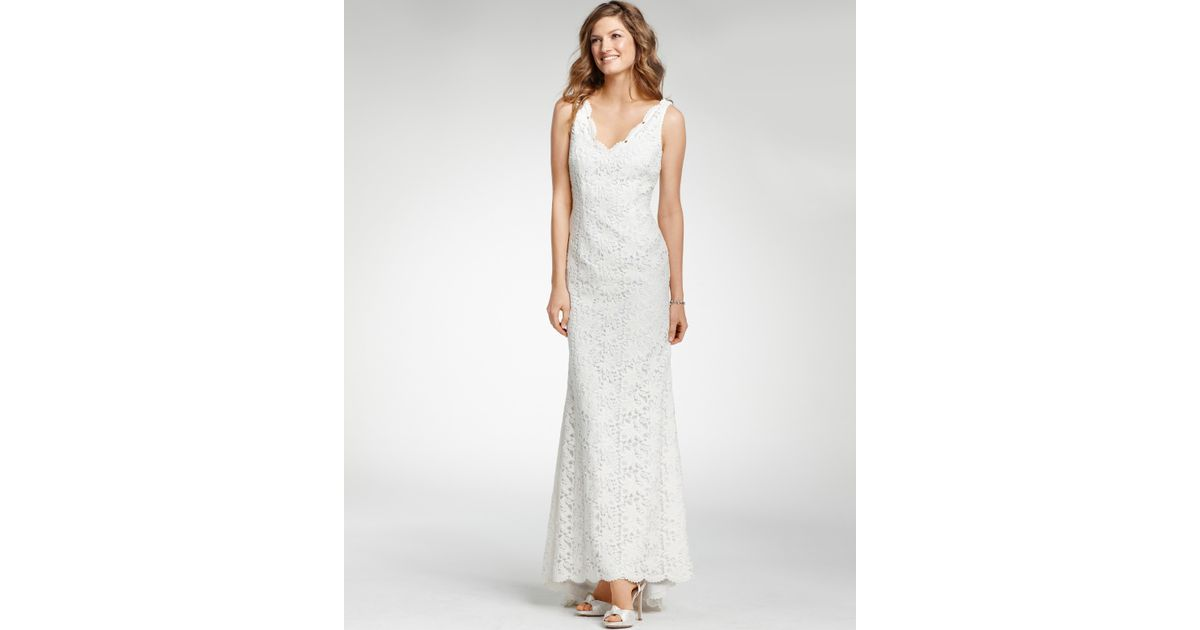 Lyst - Ann Taylor Petite Lace Sleeveless Wedding Dress in White