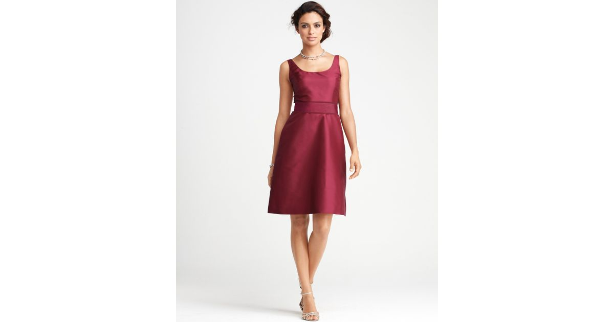 dacb144d13 Lyst - Ann Taylor Silk Dupioni Scoop Neck Bridesmaid Dress in Red