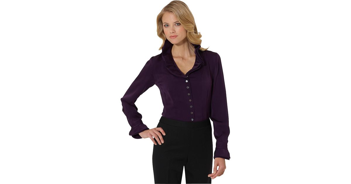 b11ab99b92d54 Lyst - Brooks Brothers Petite Silk Satin Double Face Ruffle Blouse in Purple