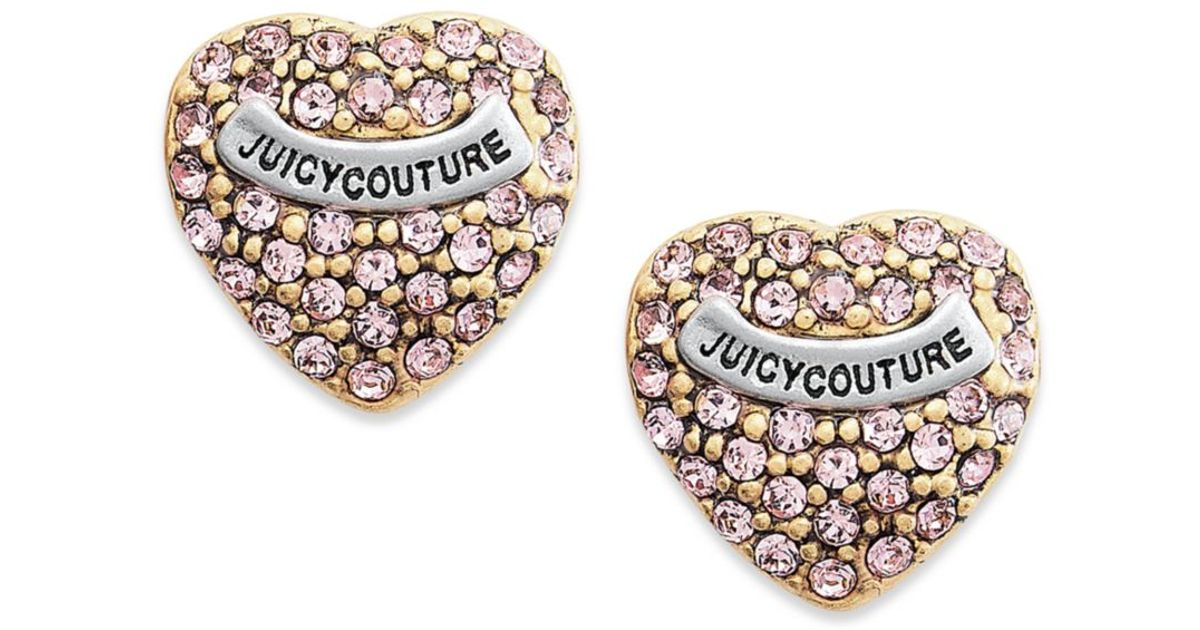 Lyst - Juicy Couture Pink Heart Pave Stud Earrings in Pink 4e1d557f9