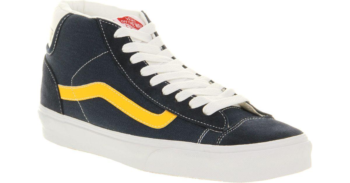 e3bc36aa551 Lyst - Vans Mid Skool 77 Skate Navy Yellow in Blue for Men