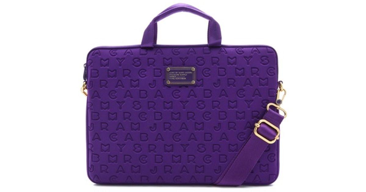 Lyst Marc By Jacobs Dreamy Logo Neoprene 15 Computer Bag In Purple