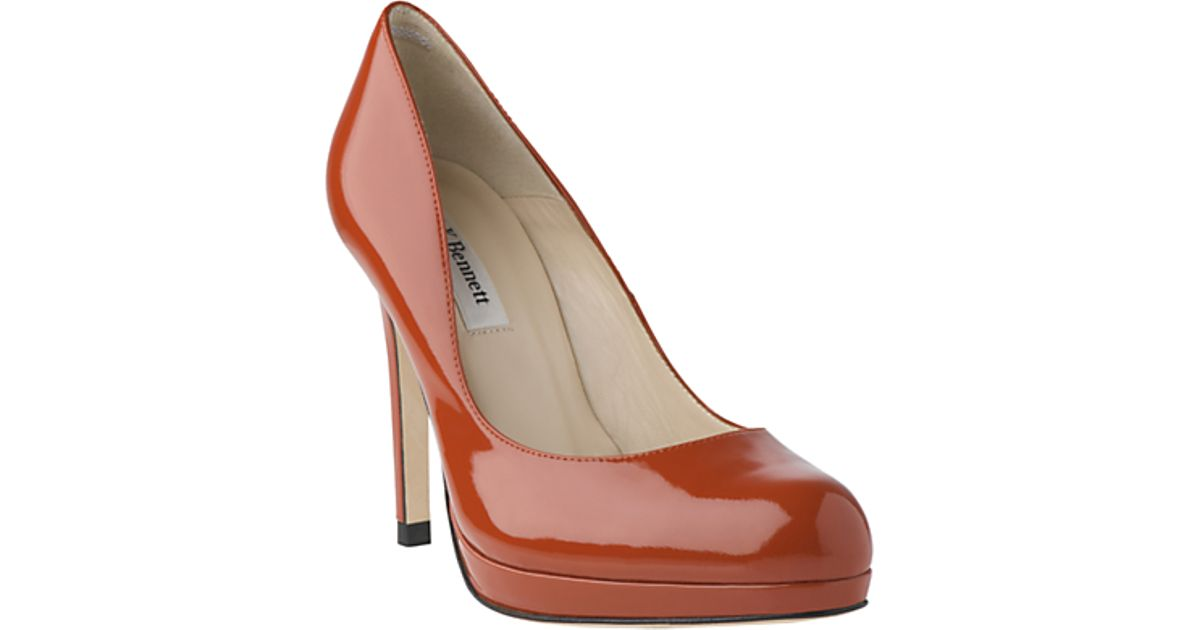 c01618dea2 L.K.Bennett Sledge Patent Leather Round Toe Court Shoes in Brown - Lyst