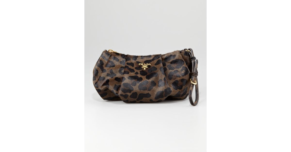 Prada Leopardprint Calf Hair Wristlet in Brown (mimetico l) | Lyst