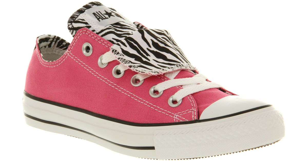 47a41336ba7140 Lyst - Converse All Star Ox Low Double Tongue Carmine Rose Zebra Canvas Smu  in Pink for Men
