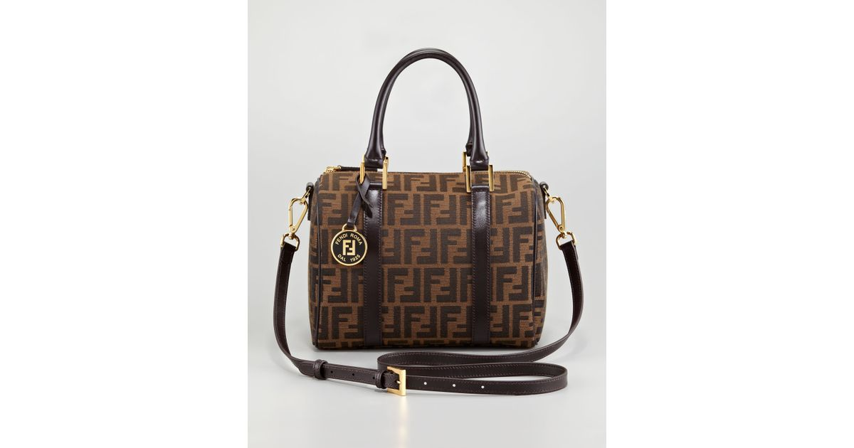 5081bee6fdfa ... wholesale lyst fendi zucca boston bag medium in brown 7a49b 23f59