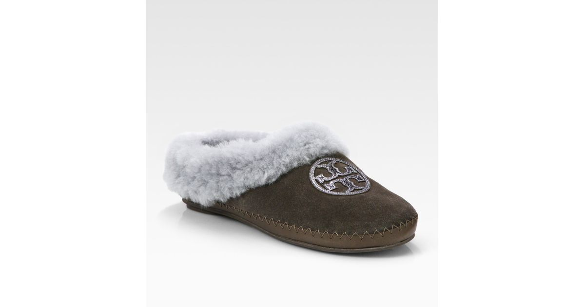 17dcaf9a1251 Lyst - Tory Burch Coley Suede and Shearling Slippers in Brown