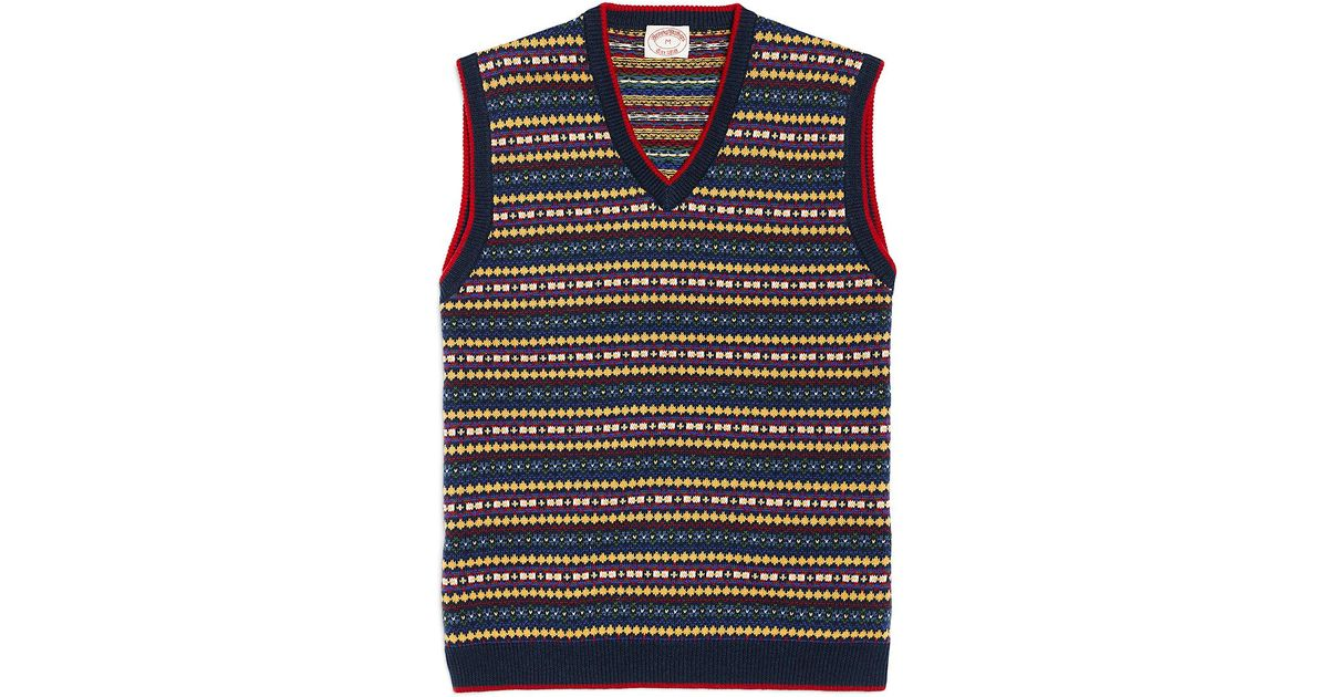 Lyst - Brooks brothers Fair Isle Vest in Blue for Men