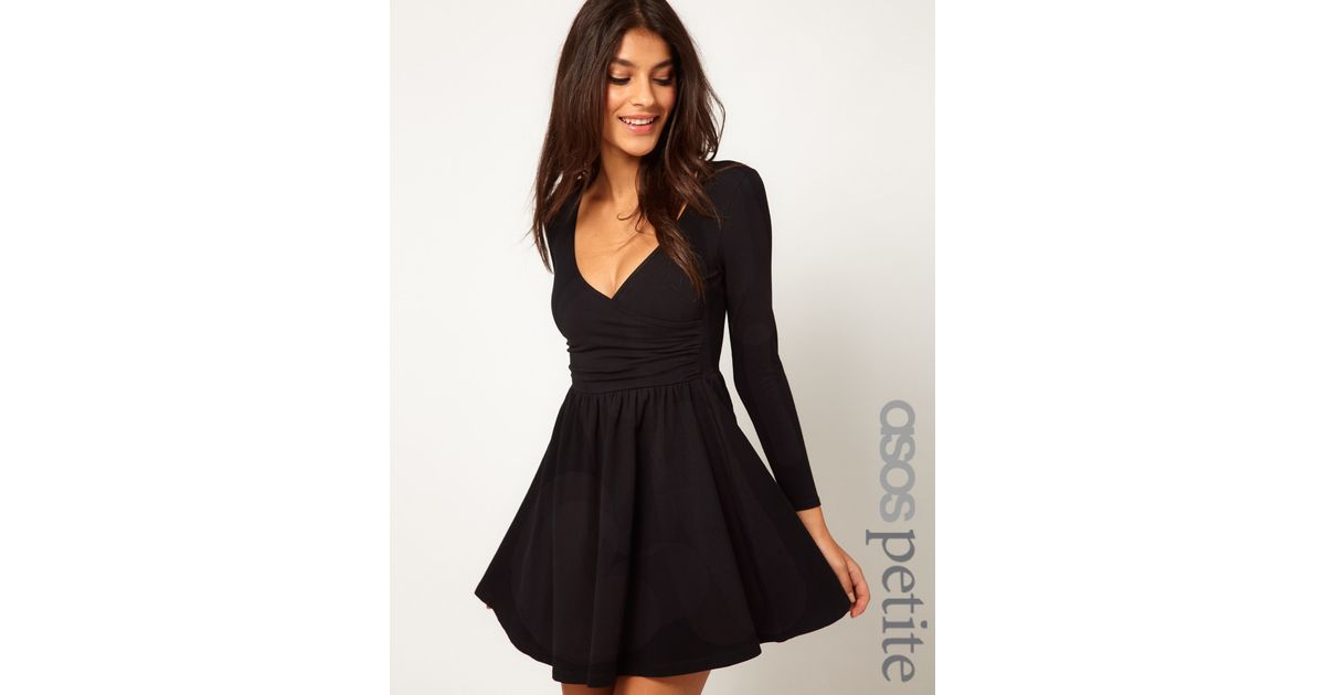 Lyst Asos Collection Long Sleeve Skater Dress With Ballet Wrap In