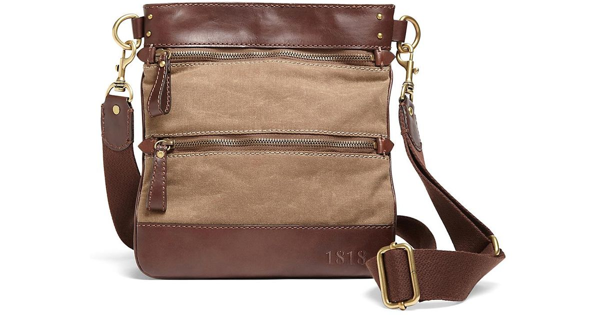 6d96096d2e4d0 Brooks Brothers Waxed Cotton Canvas Crossbody Bag in Brown - Lyst