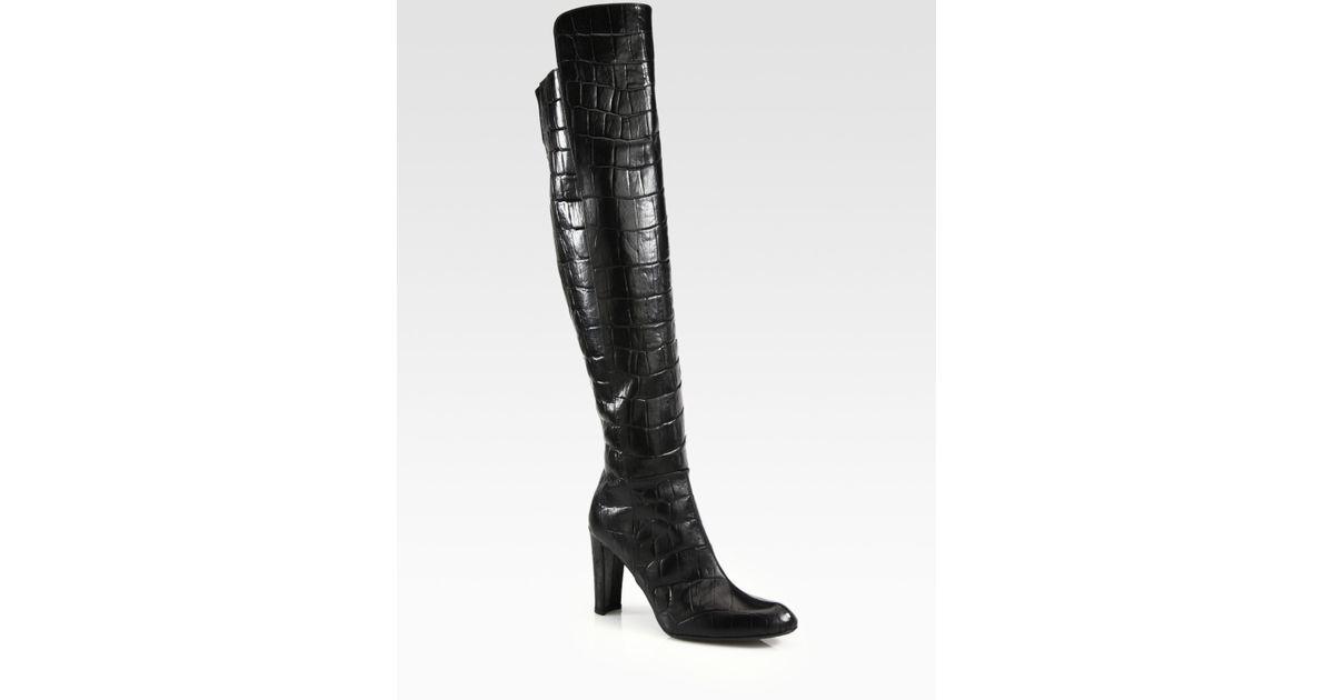fbc58bf1247 Lyst - Stuart Weitzman Vigor Crocodileprint Leather Kneehigh Boots in Black