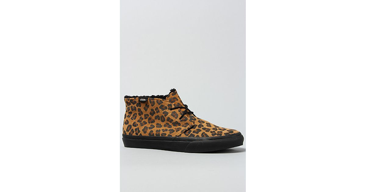ce2c74d546c3 Lyst - Vans The Chukka Slim Sneaker in Leopard Sherpa and Black