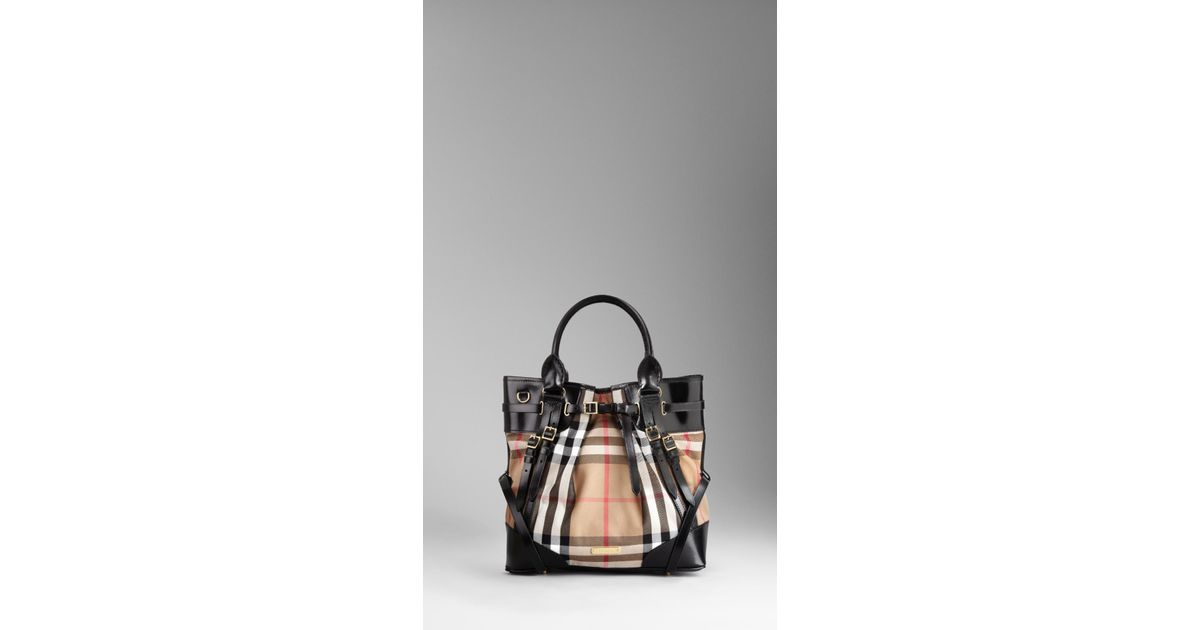 Lyst - Burberry Medium House Check Bridle Leather Tote Bag in Black 34d17c346e