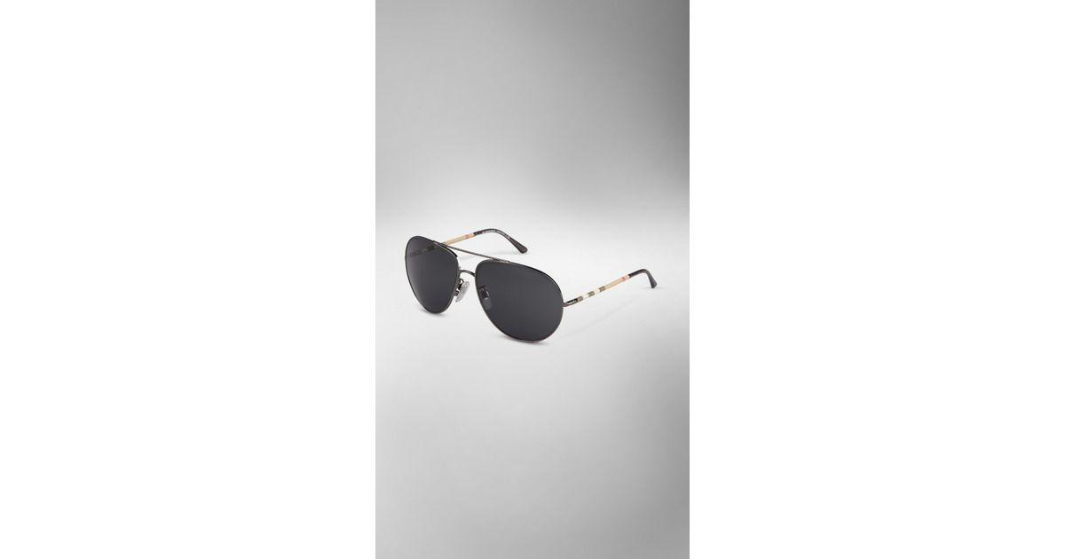 7e4ba521439 Lyst - Burberry Check Arm Aviator Sunglasses in Metallic for Men