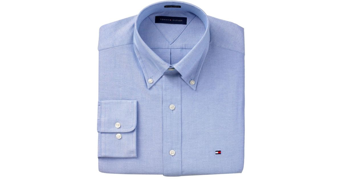 8d1c1342126 Lyst - Tommy Hilfiger Slim Fit Heritage Oxford Solid Long Sleeve Shirt in  Blue for Men