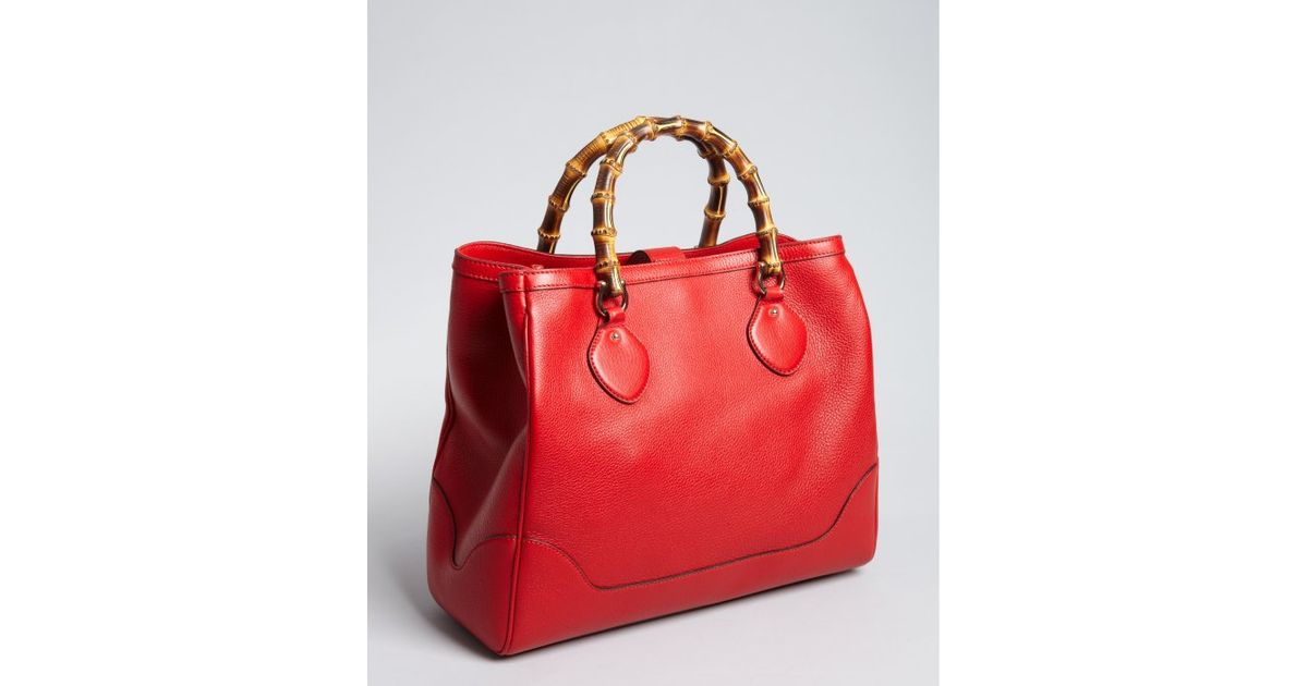 139a6aa59 Lyst - Gucci Tabasco Red Leather Diana Bamboo Handle Tote in Red