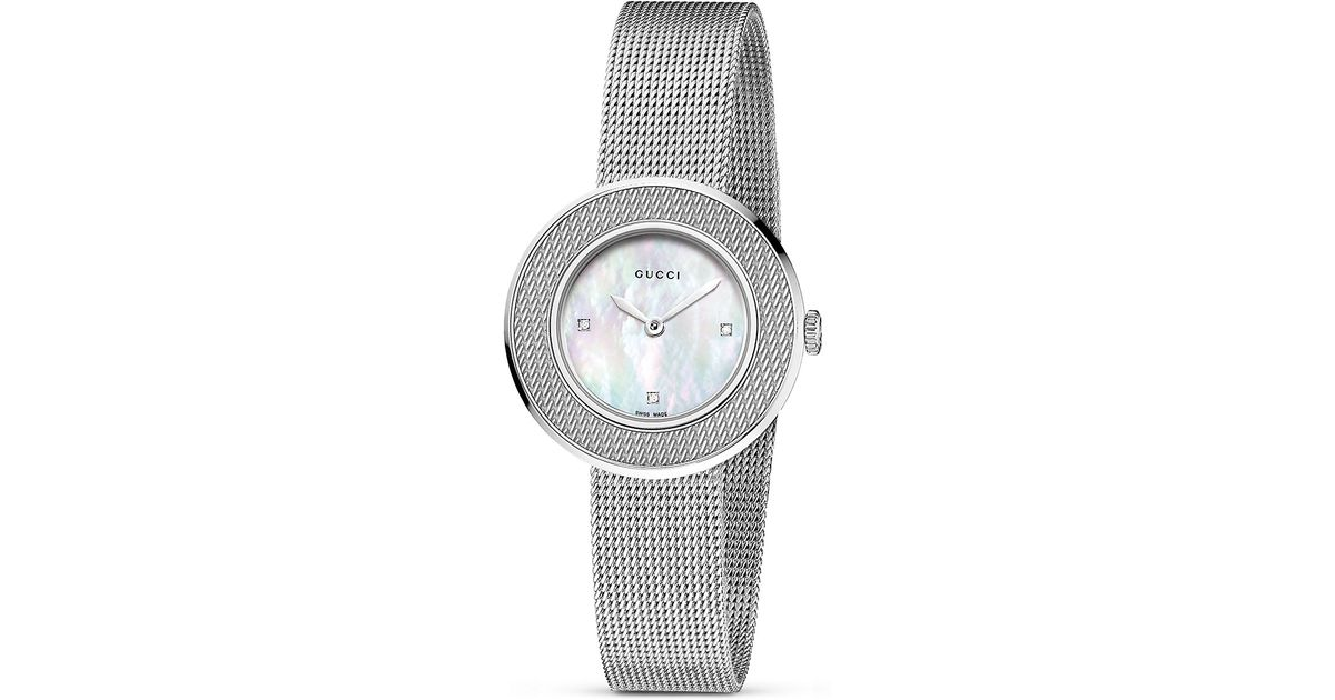 5e40808662c Lyst - Gucci U Play Stainless Steel Mother Of Pearl Mesh Bracelet Watch  27mm in Metallic