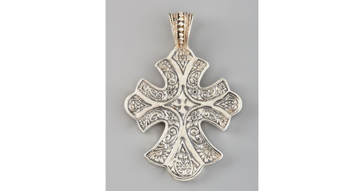 Lyst konstantino sterling silver filigree cross pendant in metallic aloadofball Image collections