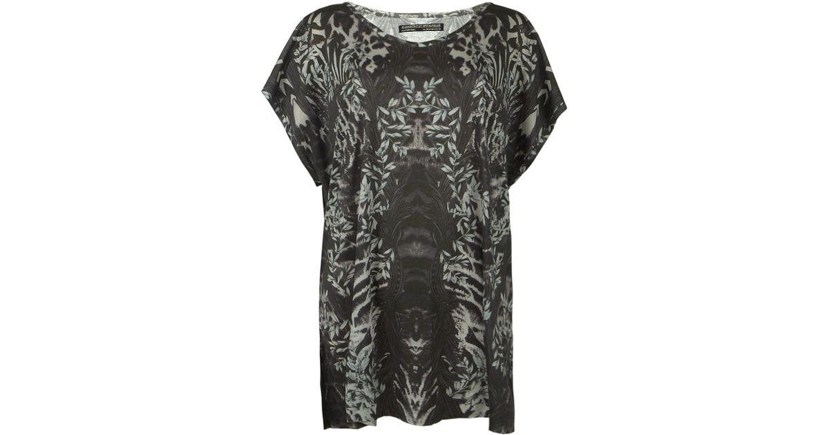 231a05e7b45d1 AllSaints Zebra Tee Dress in Gray - Lyst