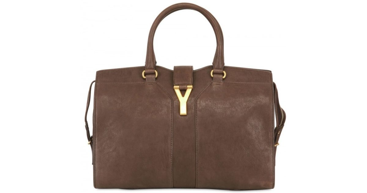 Saint laurent Medium Cabas Chyc Soft Leather Bag in Brown ...