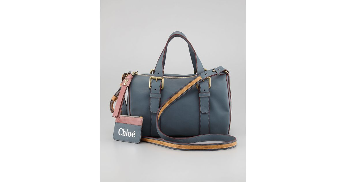 Lyst - Chloé Faux Leather Bowler Bag in Blue 535022c9ef2ed