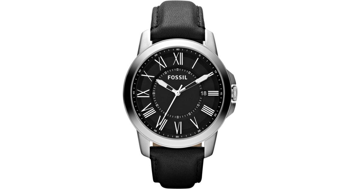 2c3b7e2d1e48 Lyst - Fossil Grant Black Leather Strap Watch in Black for Men