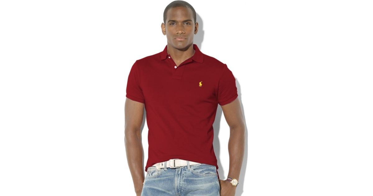 Ralph Lauren Wine Red Soft Mesh Men Sweaters