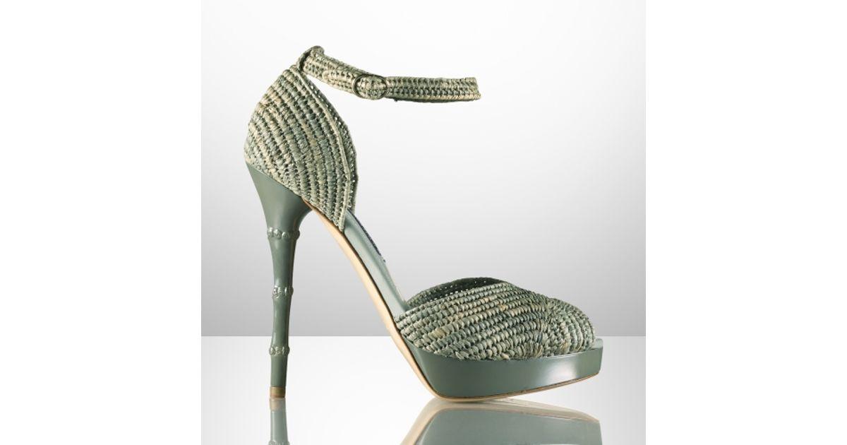 a8836cbeb3f Lyst - Ralph Lauren Collection Raffia bamboo Heel Peep-toe in Green