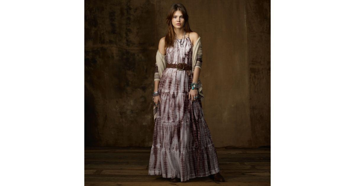 Lyst Ralph Lauren Cotton Silk Tiedye Maxi Dress In Brown