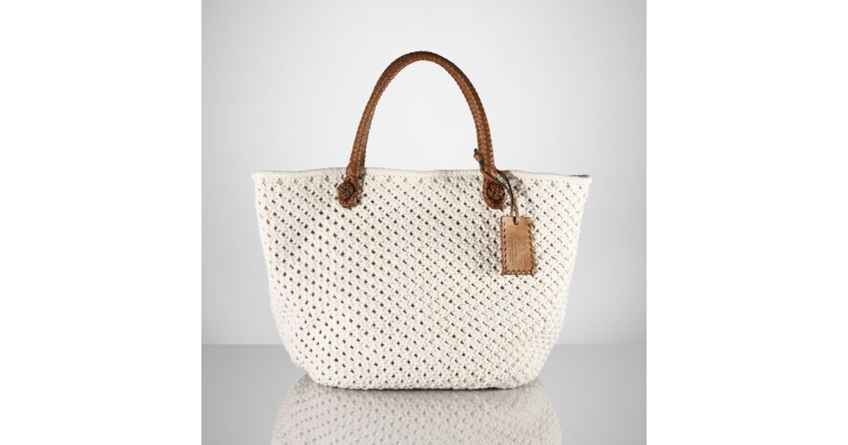 648da529524a Ralph Lauren Collection - White Cotton Crochet Tote - Lyst
