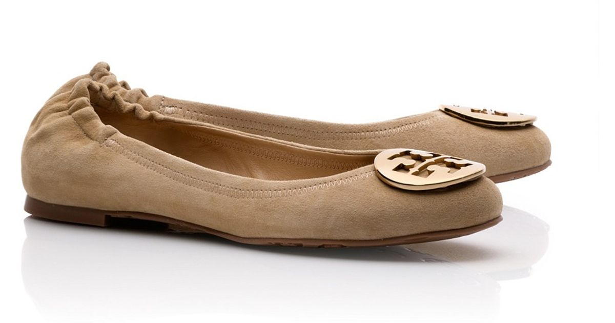 Inexpensive cheap online Tory Burch Suede Logo Flats buy cheap get to buy outlet store Locations clearance wide range of quality free shipping for sale RbLbpG