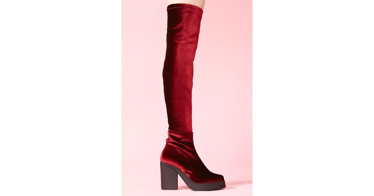 5f732a7b568 Lyst - Nasty Gal Emi Thigh High Boots in Red