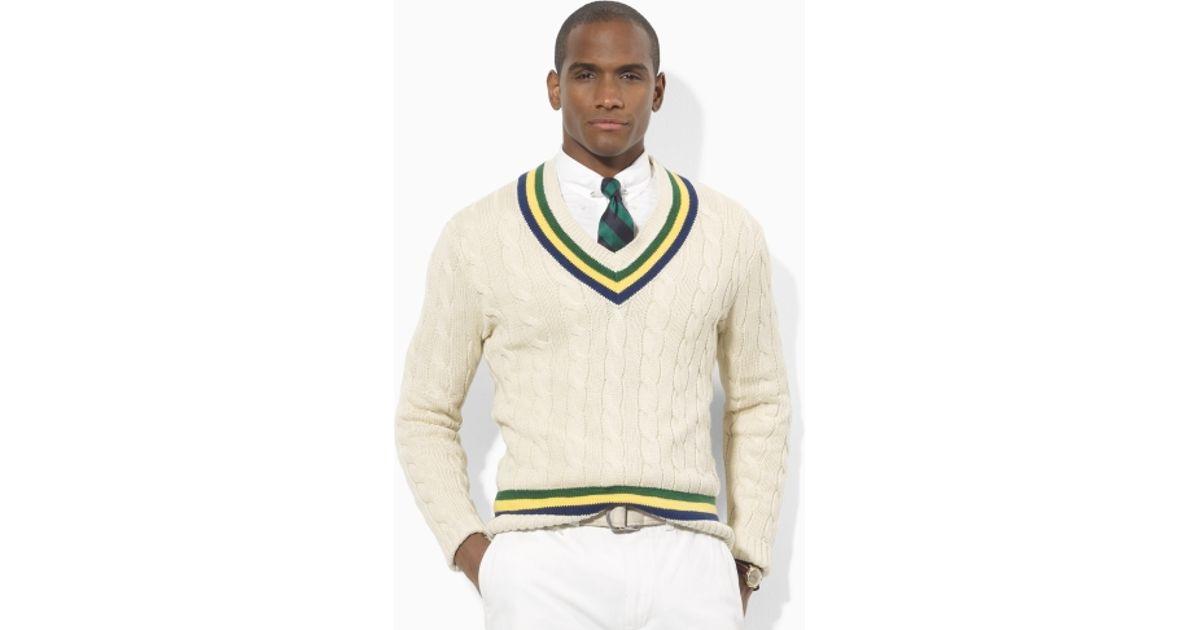 9f9a8933c848df Polo Ralph Lauren Cable Cricket Vneck Sweater in Natural for Men - Lyst